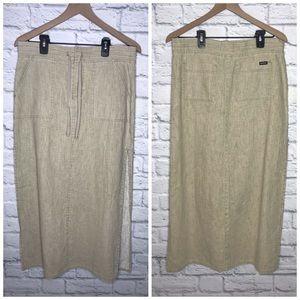 Stephen Hardy Squeeze Tan Linen Skirt Size 5/6